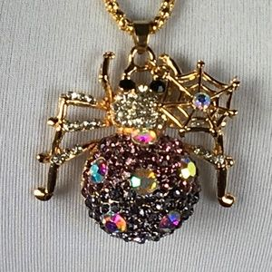 Betsey Johnson Necklace Spider Rhinestone Pink